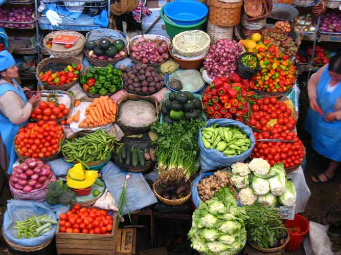 Local vegetable market in Peru