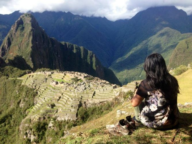 Tam Anh with her boots off at Machu Picchu Photo courtesy of Tam Anh