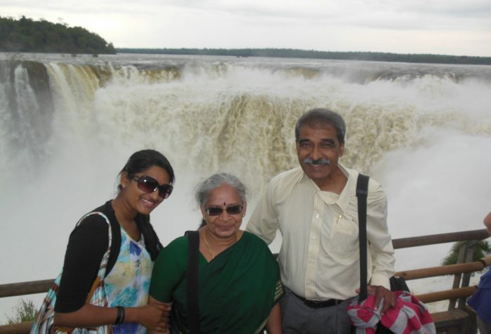 Ramaswamy and his family. Iguazu Falls.