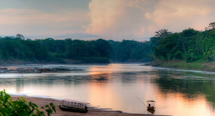 A river in the Amazon surrounded by thick green trees. Pastel tones in the sky reflect on the water.