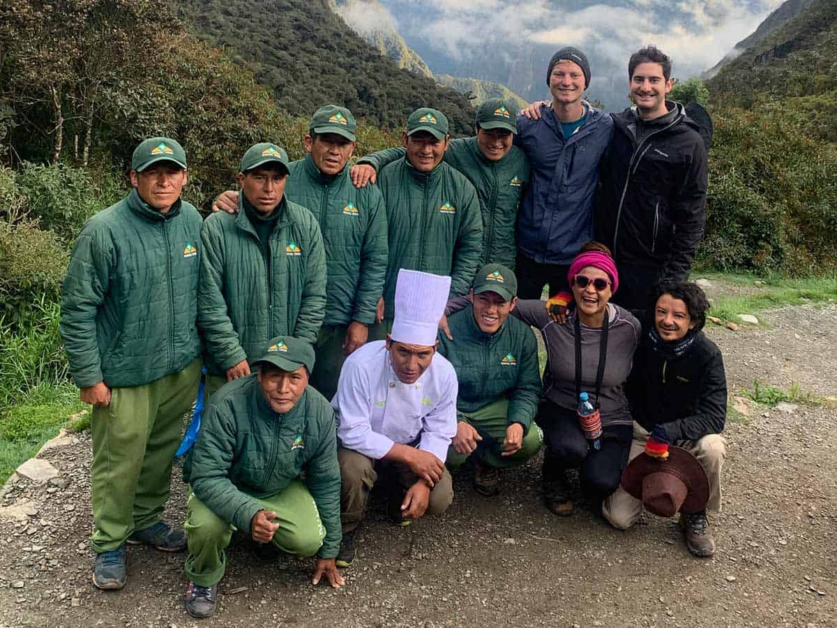Inca Trial staff and trekkers posing for a photo