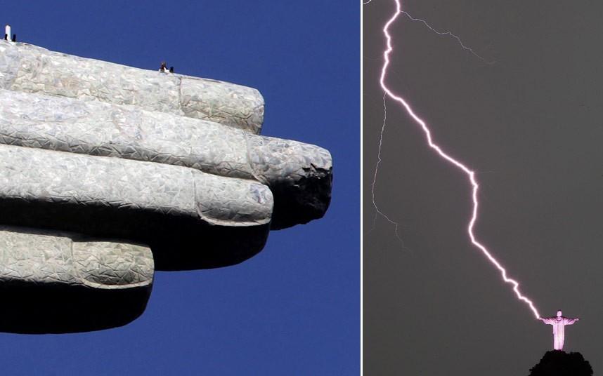 Christ the redeemer hit by lightning