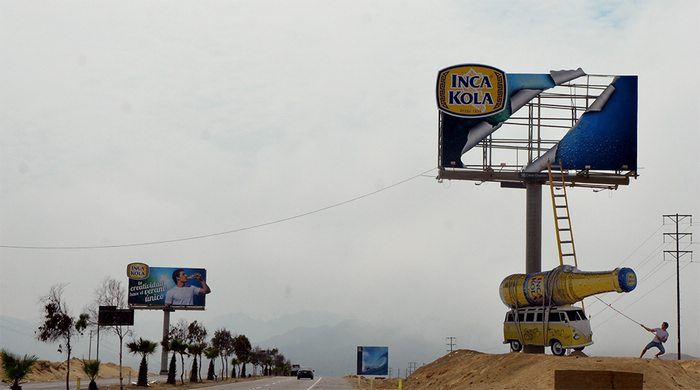 Inca Kola billboard near Lima