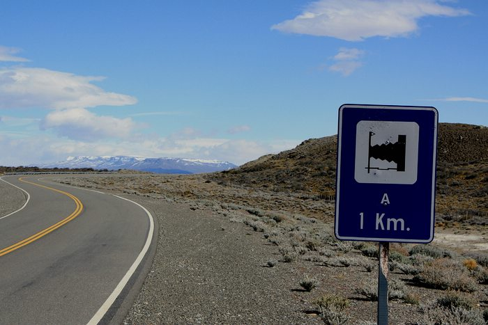 the mysterious road sign in Patagonia