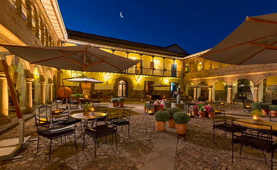 beautiful courtyard of Palacio del Inka in Cusco, Peru