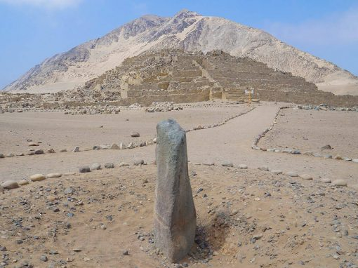 The huanca or sacred stone at Caral, the site of the oldest civilization in the Americas.