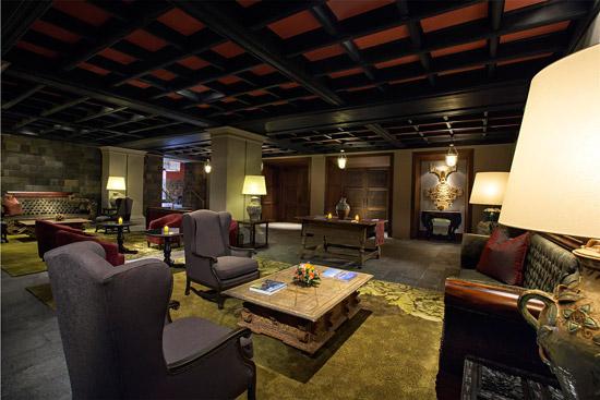 colonial-style lobby of Palacio del Inka Hotel in Cusco, Peru