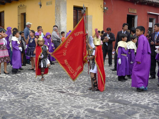Local children at a semana santa procession in Costa Rica