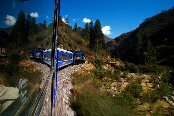 riding the train to Machu Picchu in Peru