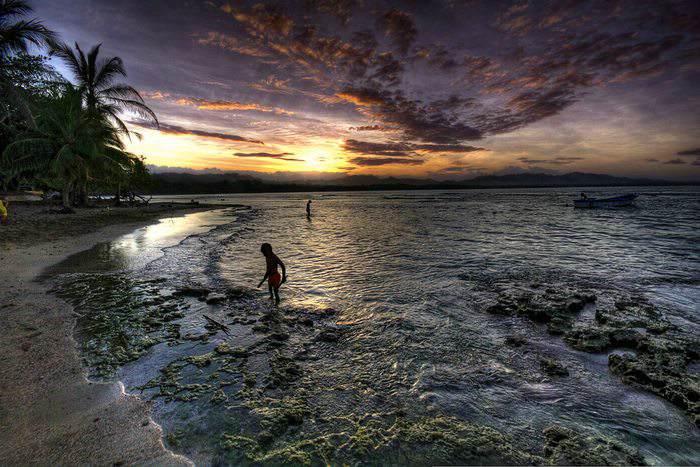 beach sunset in Puerto Viejo, Costa Rica