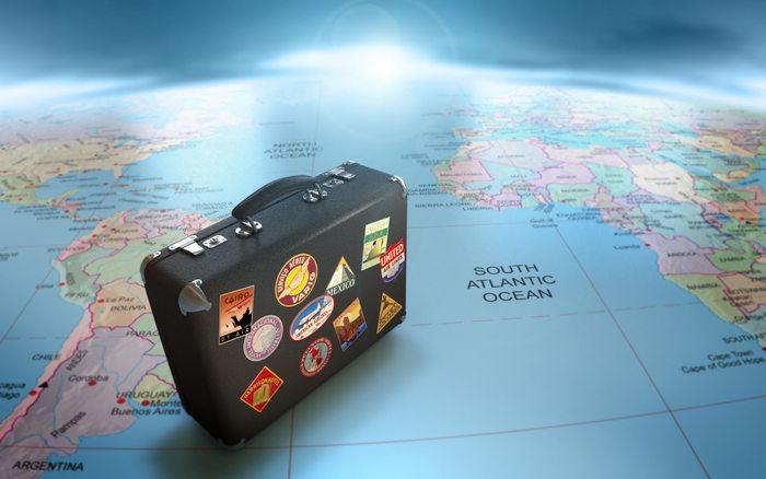 Globe suitcase map