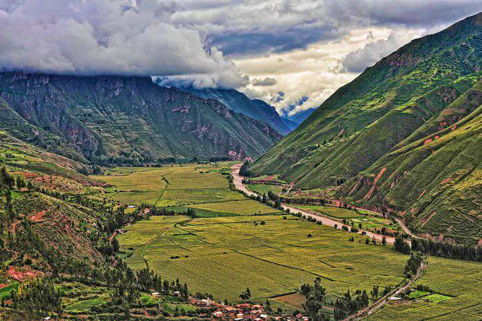 The beautiful landscape of the Sacred Valley of the Incas, located near Cusco in Peru.