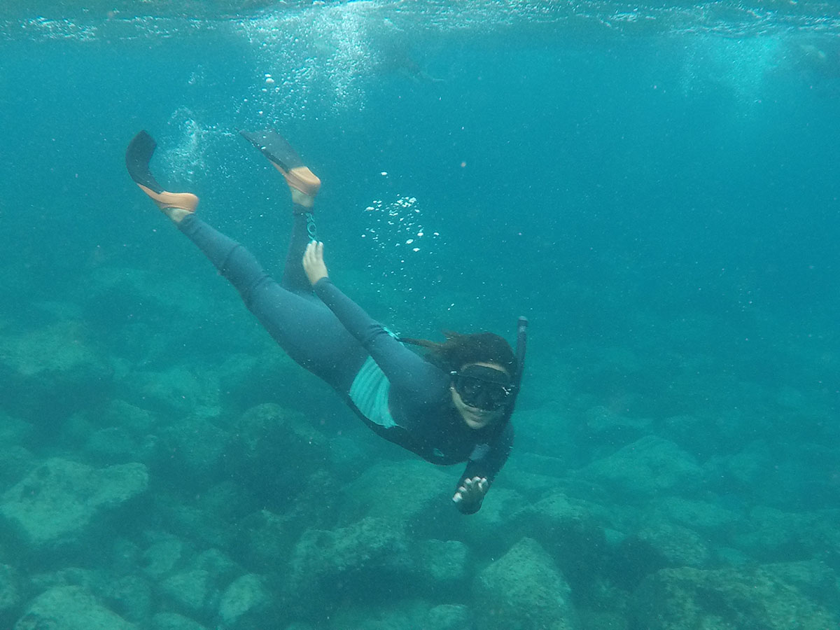 A person in full snorkeling equipment underwater in the Galapagos.