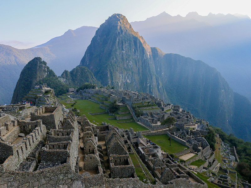 A sunrise over the Inca citadel of Machu Picchu