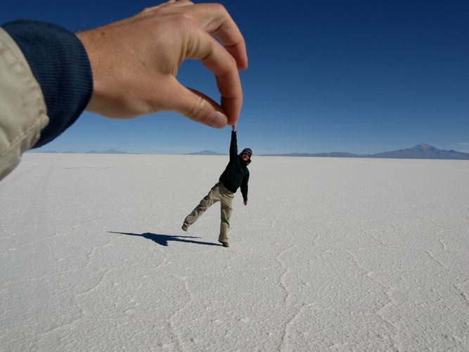 playing with perspective in the Salt Flats