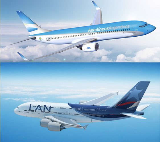 planes of Aerolinea Argentina and LAN