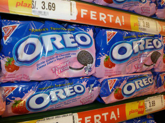 Oreos on sale at a grocery store in Peru