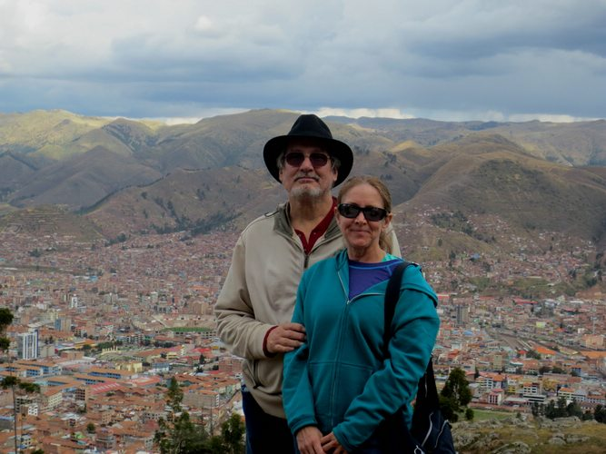 looking down at Cusco, Peru