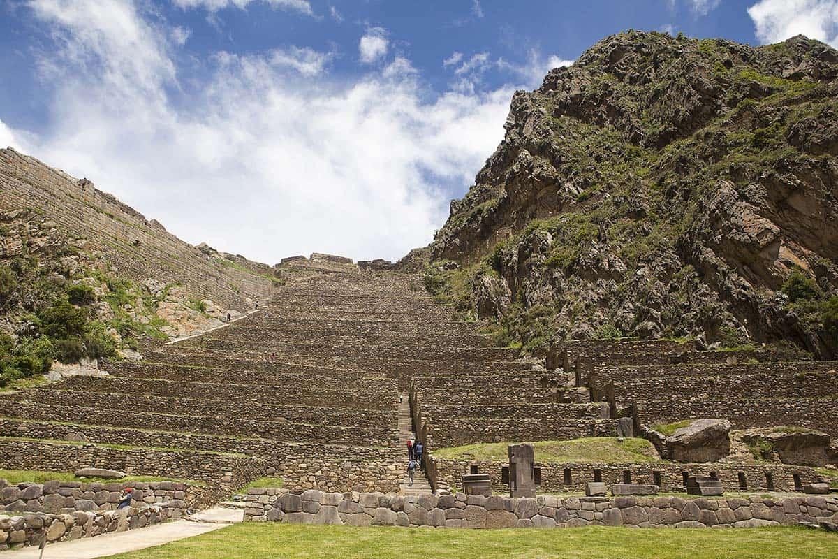 Impressive Inca agricultural terraces at the Ollantaytambo ruins