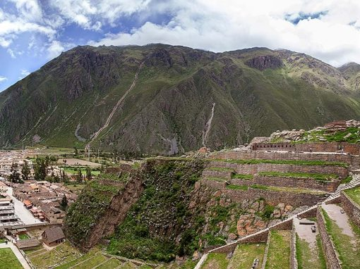 The ruins of Ollantaytambo overlooking the modern town below.