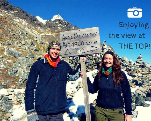 Reaching the top of Salkantay Mountain