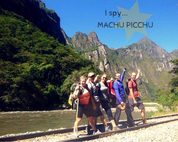 Walking to Machu Picchu along the train tracks