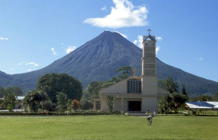 Arenal Volcano as seen from downtown La Fortuna, Costa Rica