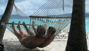 Hanging in a hammock