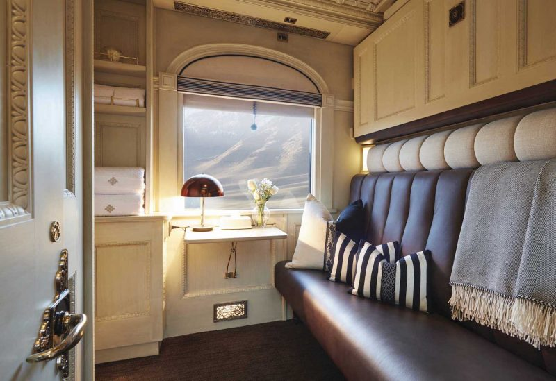 A double bunk cabin on the Andean Explorer train.