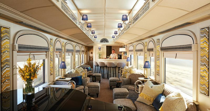 The lounge car of the Andean Explorer train.