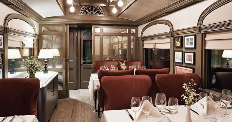 The restaurant car of the Andean Explorer train.