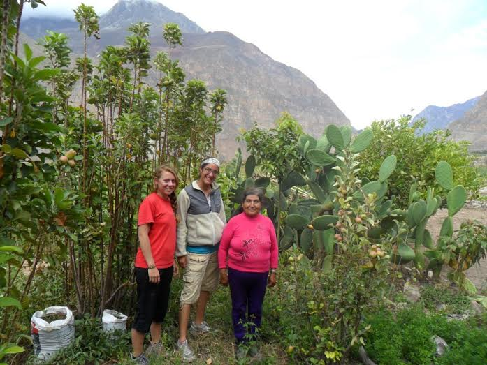 Kendra with her host in Cotahuasi in Peru