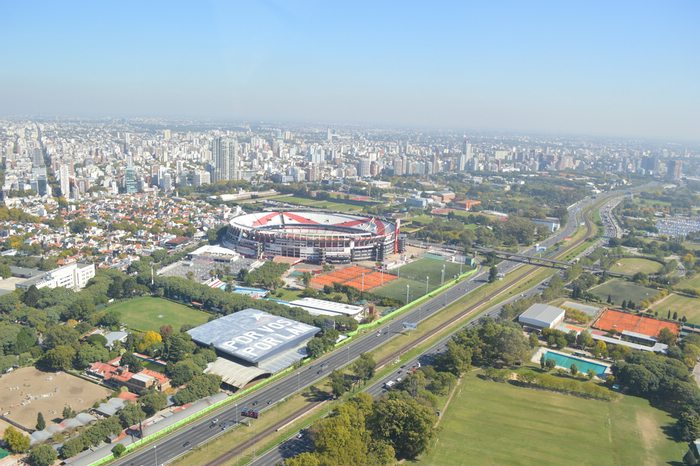 An aerial view of the River Plate Stadium in Buenos Aires, Argentina