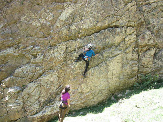 Liz and her sister go rock climbing in Huaraz, Peru