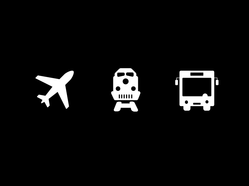 A graphic of a plane, train, and bus in white with a black background.