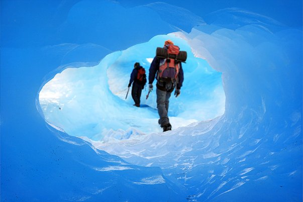 Exploring ice caves on big Perito Moreno trek
