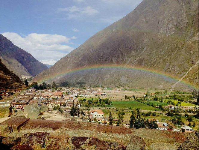rainbow over Ollantaytambo