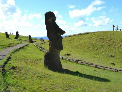 A moai statue sticking up out of the ground on Easter Island, also known as Rapa Nui.