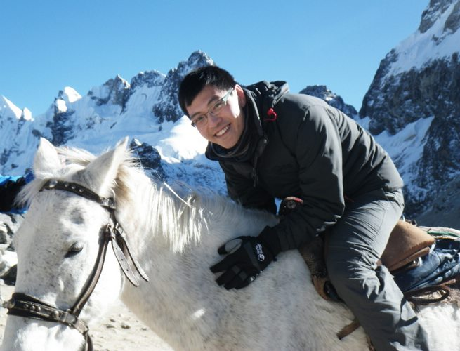 riding a horse in Salkantay