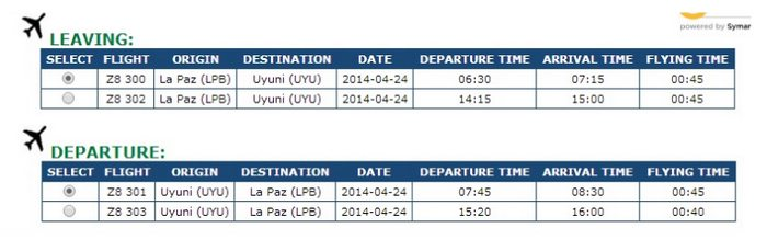 flight frequencies between La Paz and Uyuni