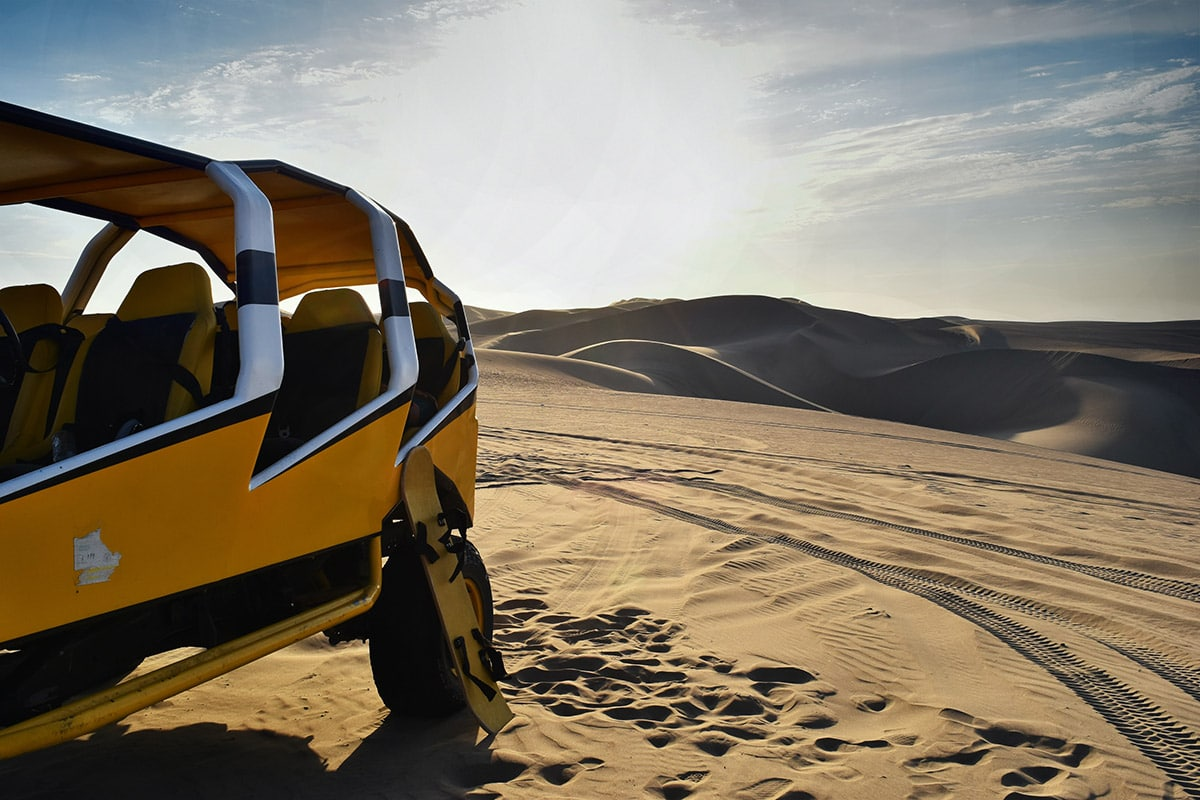 Dune buggy in the desert near the Huacachina Oasis