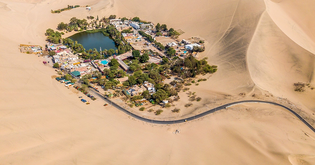 Aerial view of the Huacachina desert oasis in Peru