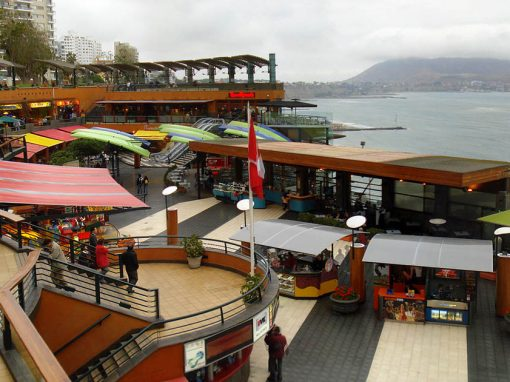 The Larcomar shopping center in Miraflores with the Pacific Ocean and the Morro del Solar visible.