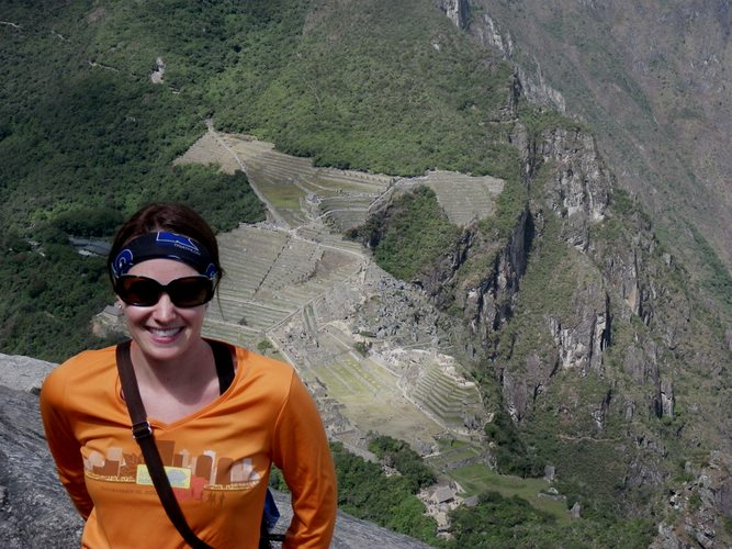 reaching the top of Huayna Picchu