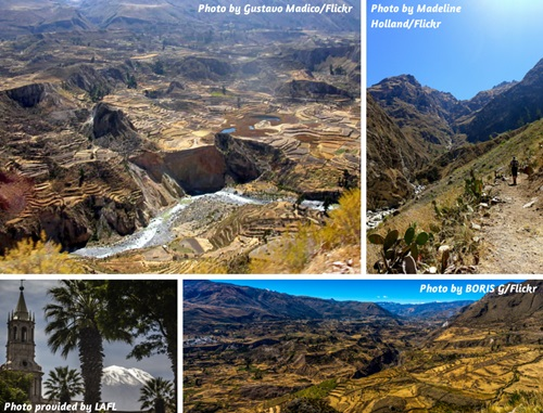 Photo collage of Colca Canyon and Arequipa, Peru