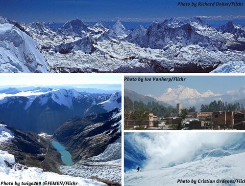 Photo collage of the mountain scenery in the Cordillera Blanca, Peru