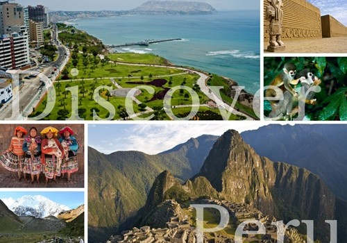 Photo collage of scenic landscapes of Peru