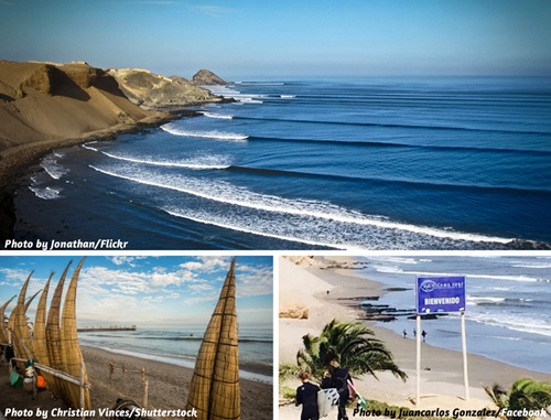 Photo collage of Chicama and Huanchaco, Peru
