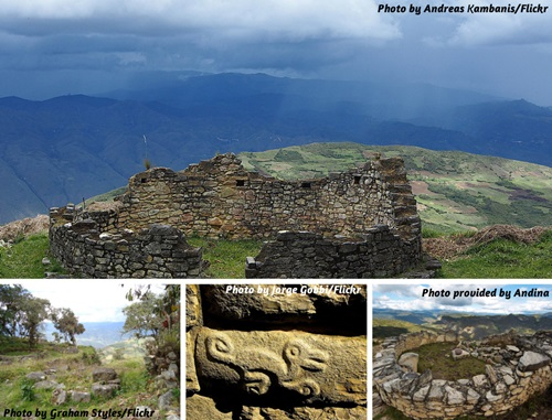 Photo collage of Kuelap Fortress near Chachapoyas, Peru