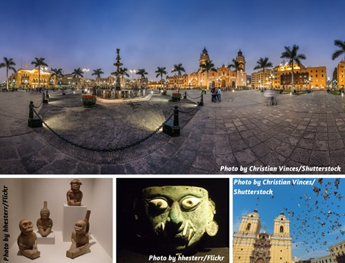 Photo collage of museum art and historical buildings in Lima, Peru